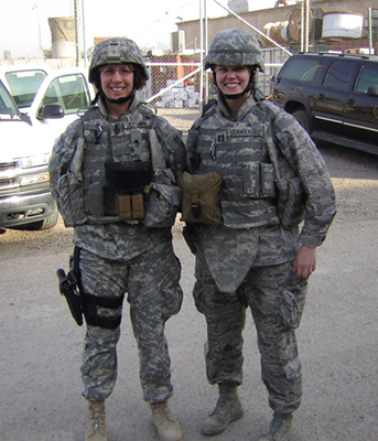 LNCS Julie Tessmer, U.S. Navy (left) and Captain Beth Hernandex, U.S. Air Force dressed for a day at Court in Baghdad, Iraq