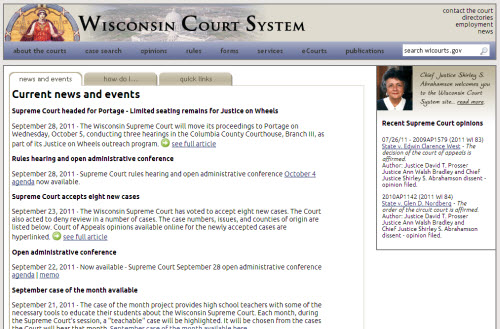 WICOURTS.GOV home page