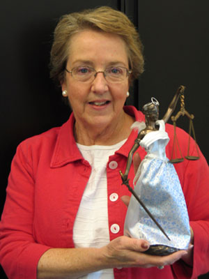 Jane Colwin with Lady Justice