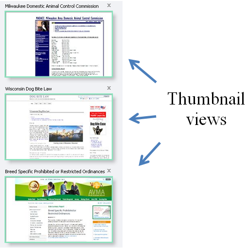 Thumnail views of tabs