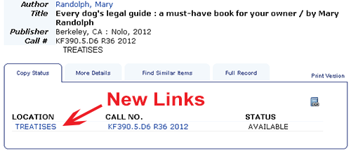 Location links in the library catalog