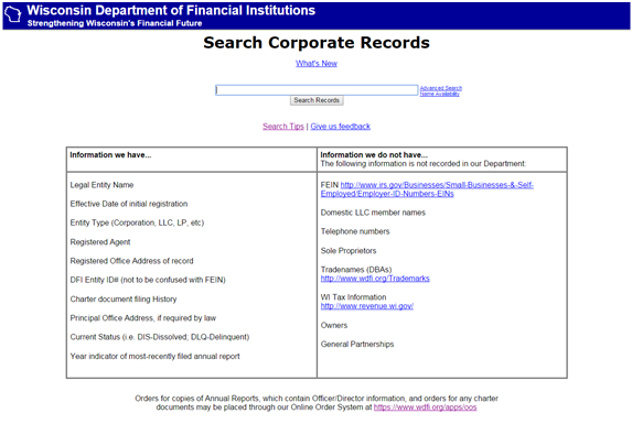 WI DFI Corporate Records search