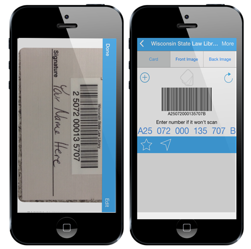 examples of a library card number saved on a smartphone