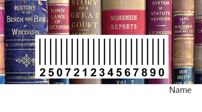 library card back with book spines and barcode image