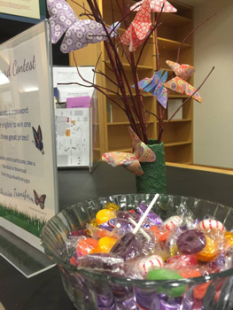 candy, signs, and butterflies at the front desk