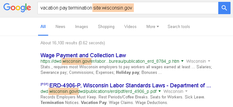vacation pay termination site:wisconsin.gov