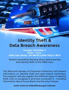 Wsll your service december 2017 wisconsin state law library identity theft class solutioingenieria Image collections