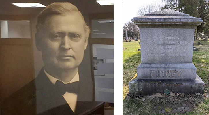 Silas Pinney portrait and gravestone