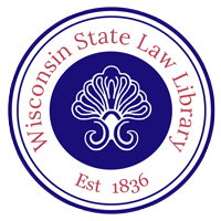 Wisconsin State Law Library logo - a circle with swirls in the middle and the library name and 1836 date of establishment around the outer ring